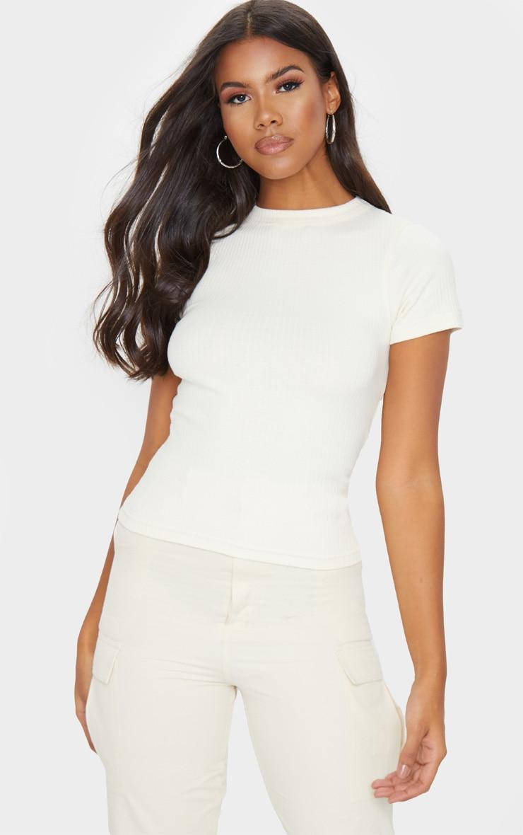 Tee-shirt côtelé crème à laçage au dos 2