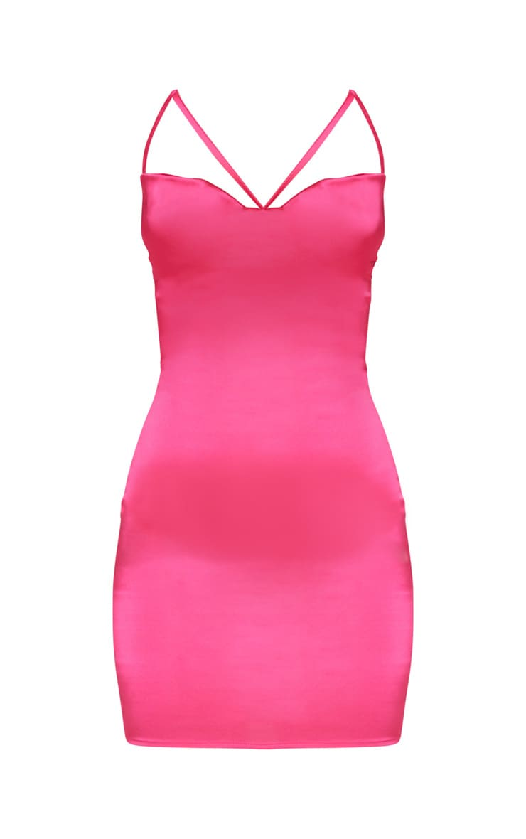 Bright Pink Stretch Satin Lace Up Back Cowl Neck Bodycon Dress 3