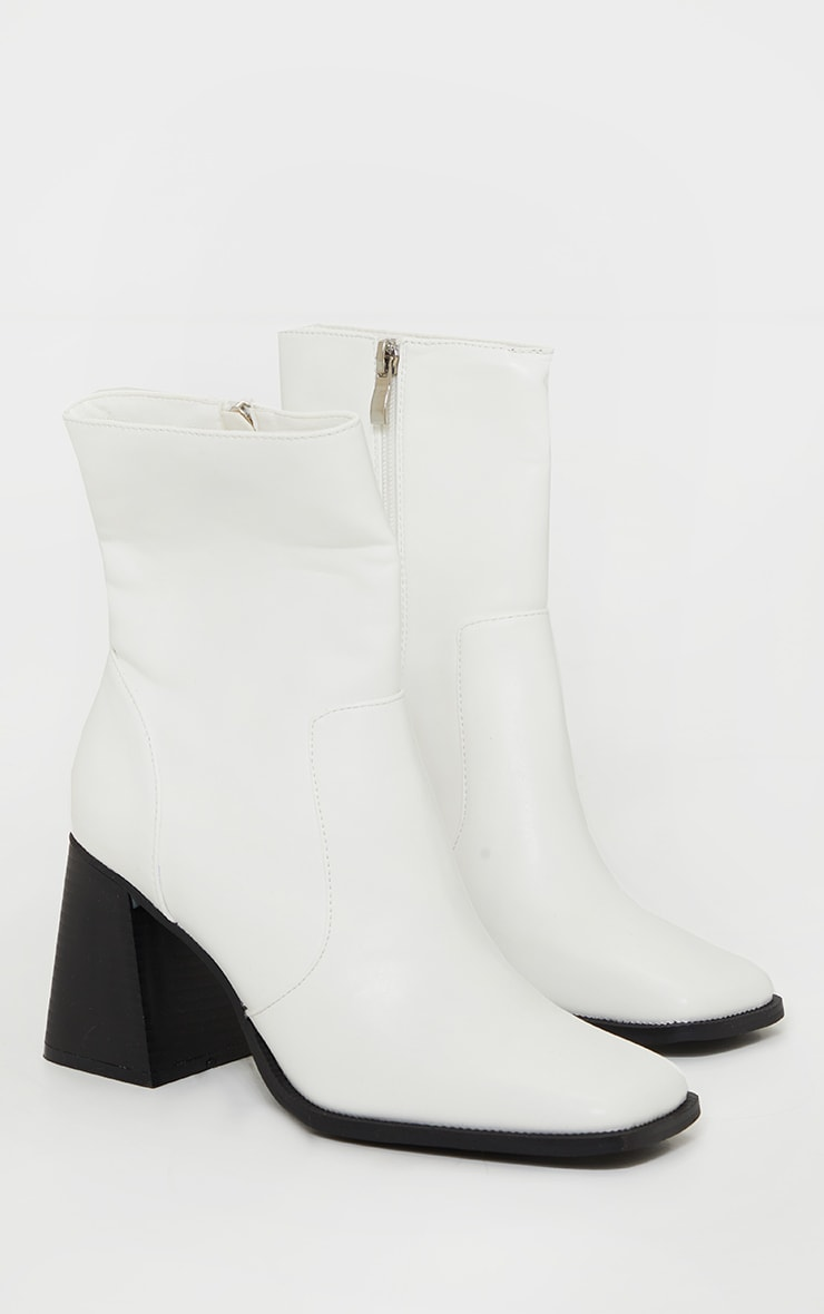 White Square Toe Flare Block Heel Ankle Boot 3