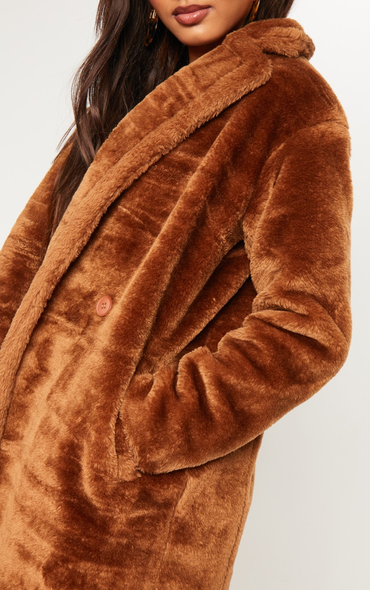 Tall Brown Faux Fur Long Line Coat 5