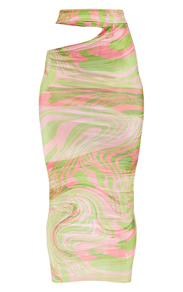 Lime Swirl Print Slinky Cut Out Waist Detail Midi Skirt 5