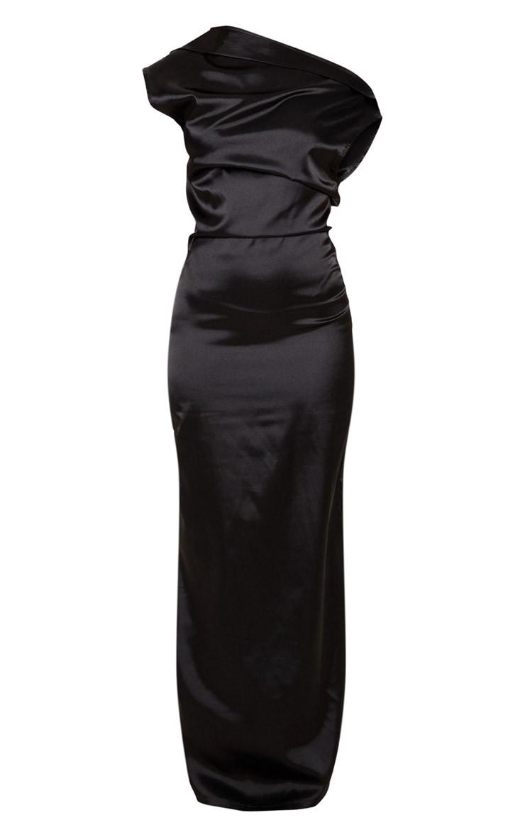 Black Off Shoulder Pleat Detail Satin Maxi Dress 3