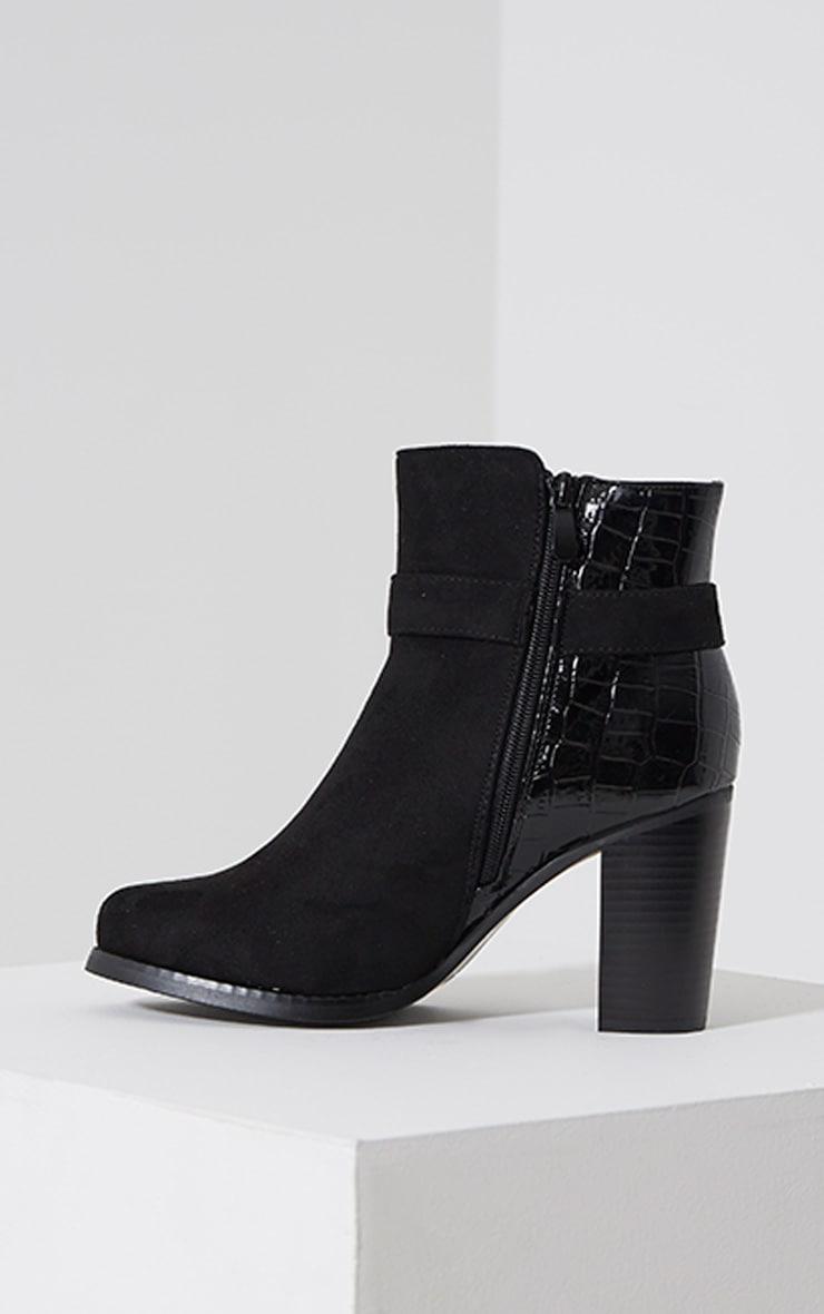 Monica Black Croc Suede Buckle Heel Boots 4