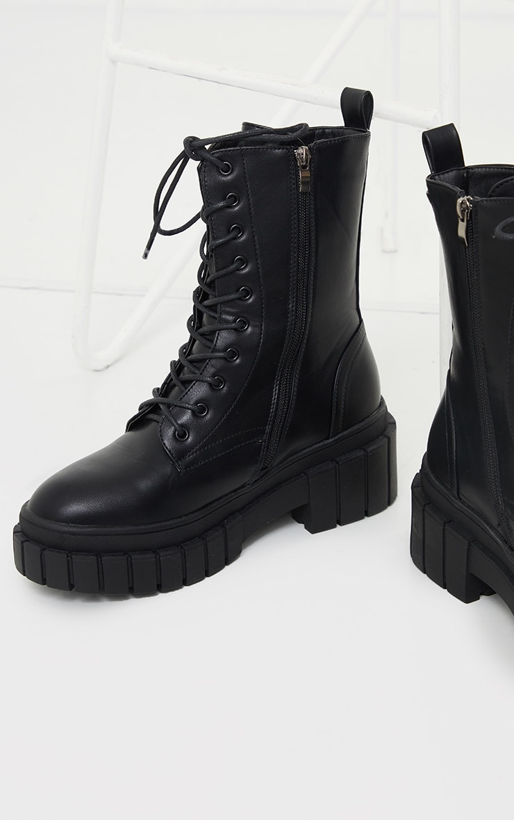 Black Wide Fit Extreme Ridged Lace Up Chunky Calf Boots 4