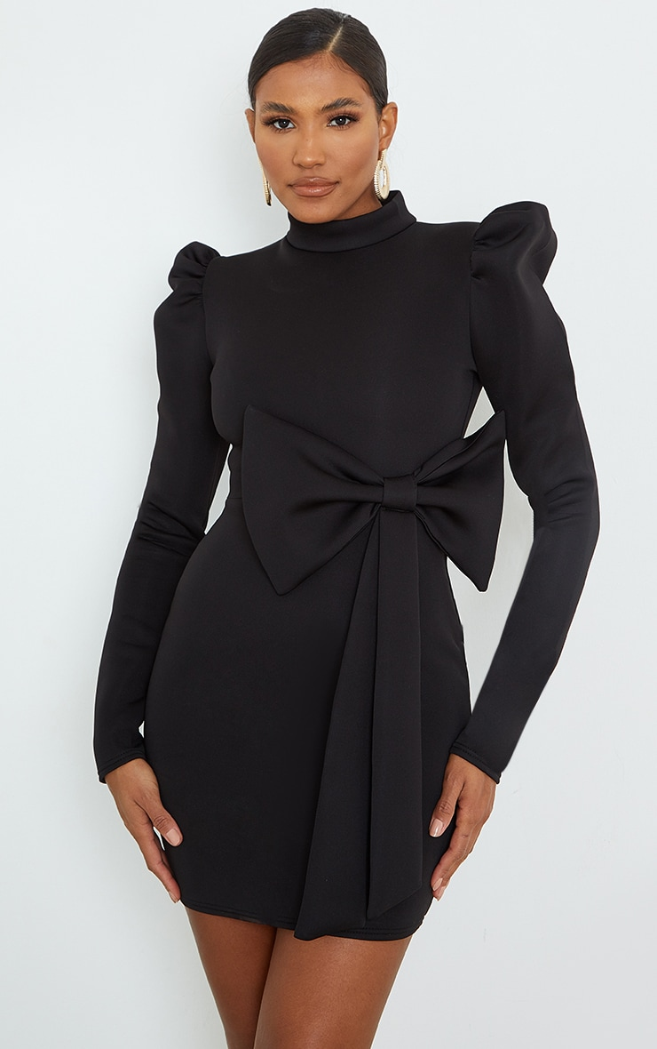 Black High Neck Bow Detail Scuba Bodycon Dress 1