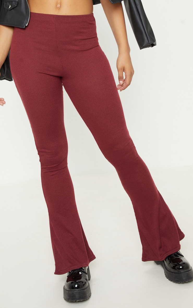 Tall Burgundy Ribbed Flared Trouser  5