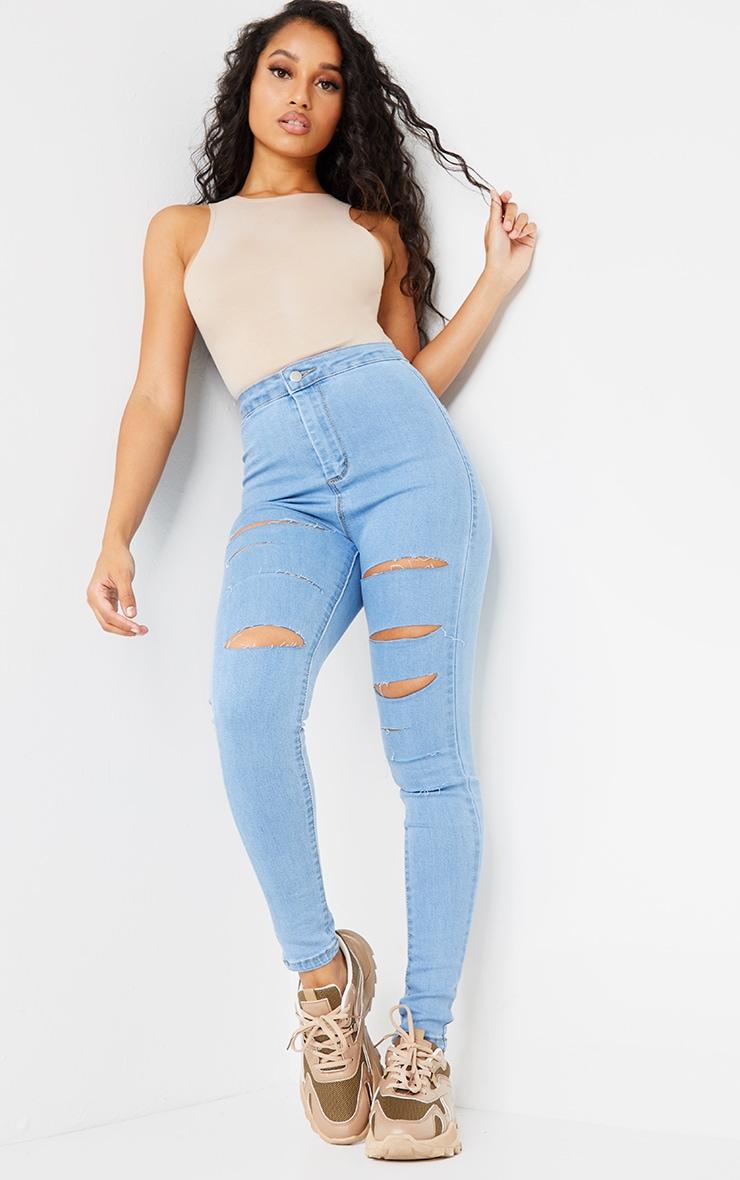PRETTYLITTLETHING Petite Light Blue Wash Rip Distressed Disco Skinny Jean 1