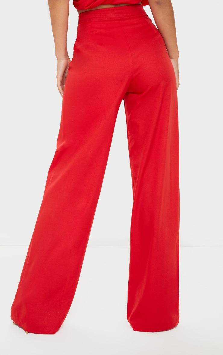 Red Wide Leg Woven Trouser 4