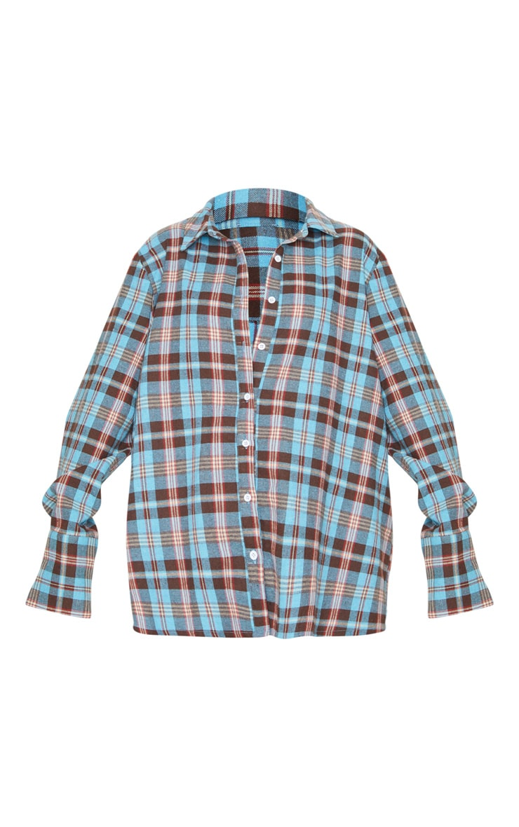 Baby Blue Tartan Checked Flannel Pocket Detail Oversized Shirt 3