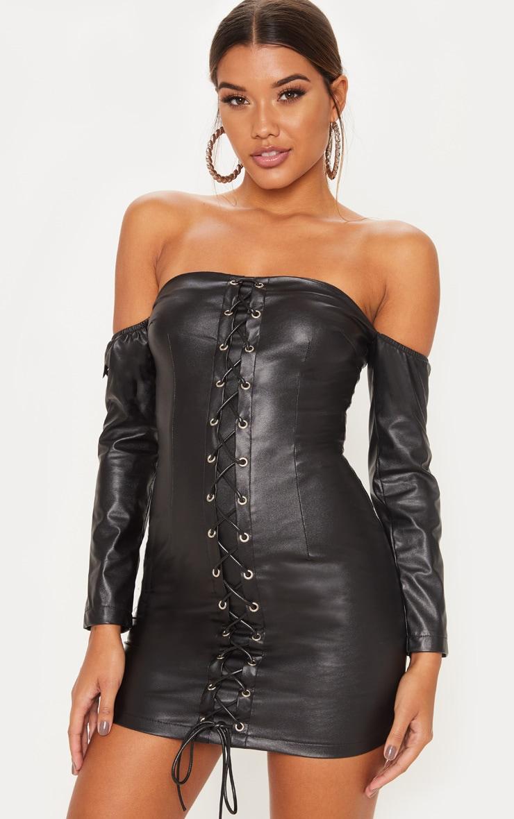 Black Faux Leather Bardot Bodycon Dress Prettylittlething