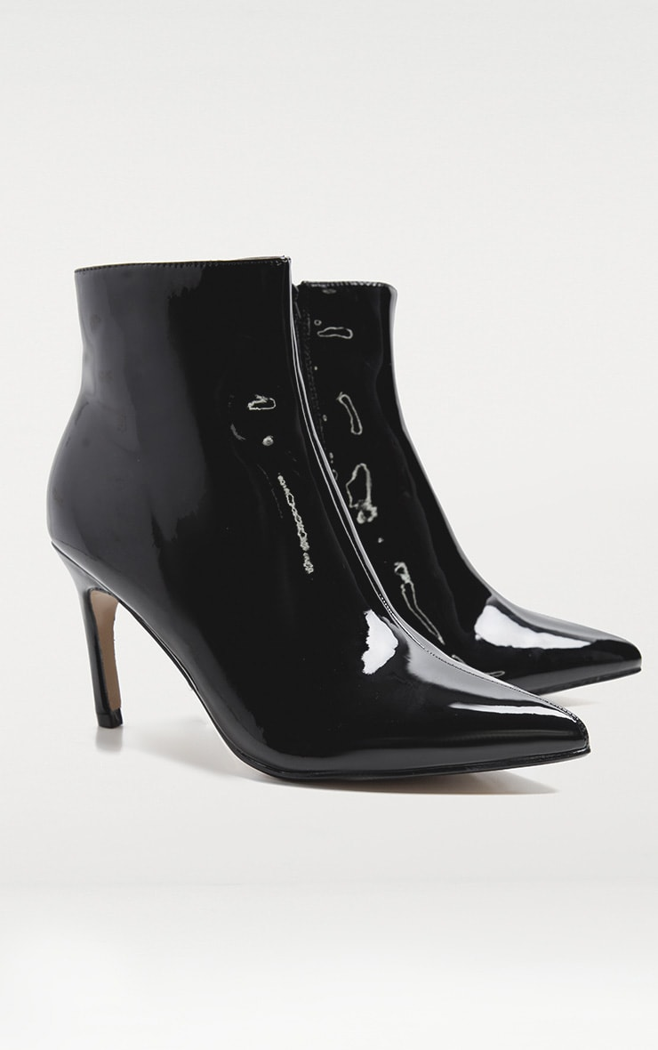 Black Patent Mid Heel Boot 3