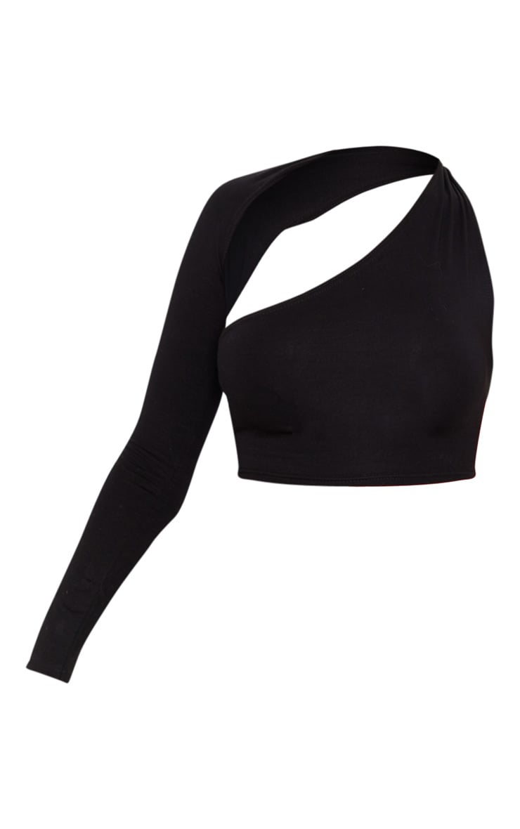 Black Cotton One Shoulder Asymmetric Crop Top 3