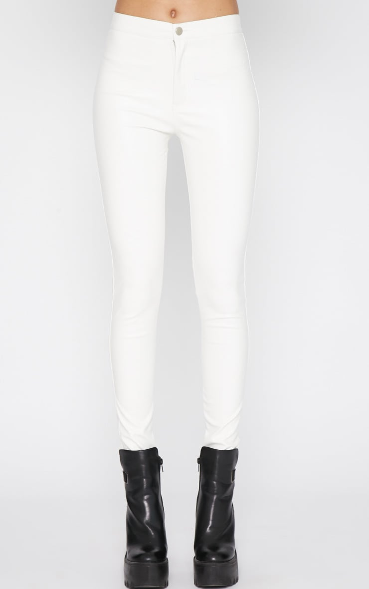 Lina White Skinny Leather Trouser 3