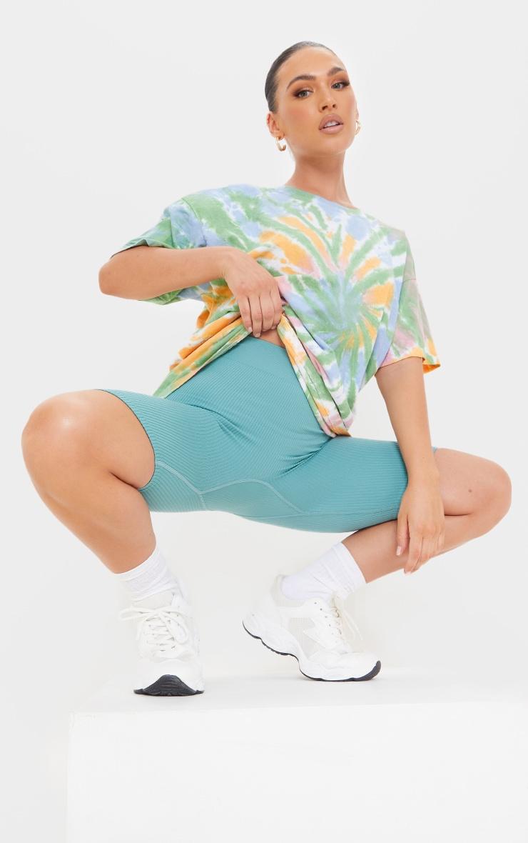 Multi Tie Dye Print Oversized T Shirt 3