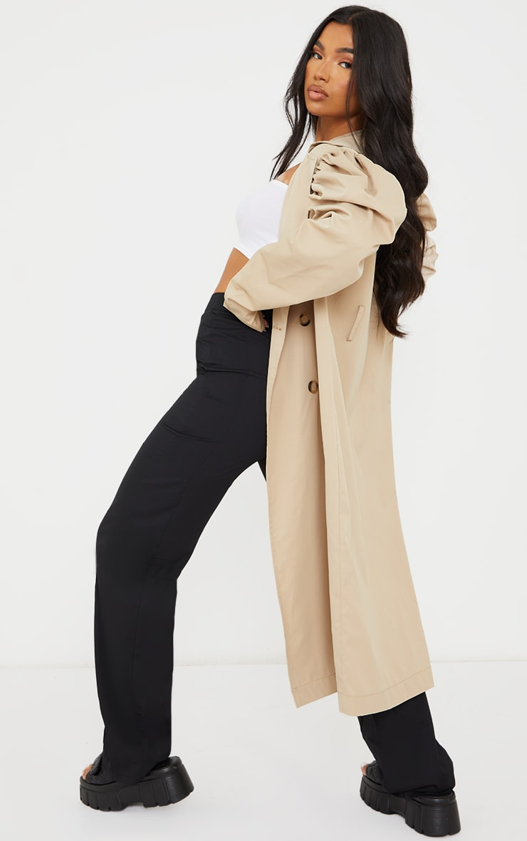 Stone Balloon Sleeve Belted Midi Trench 2