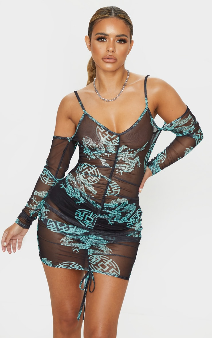Petite Black Oriental Mesh Cut Out Mini Dress 1