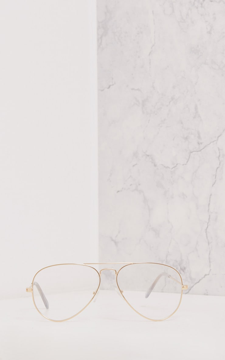 Kennie Gold Clear Lens Aviators 3