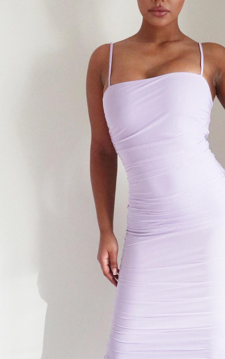 Lilac Strappy Mesh Midi Dress 4