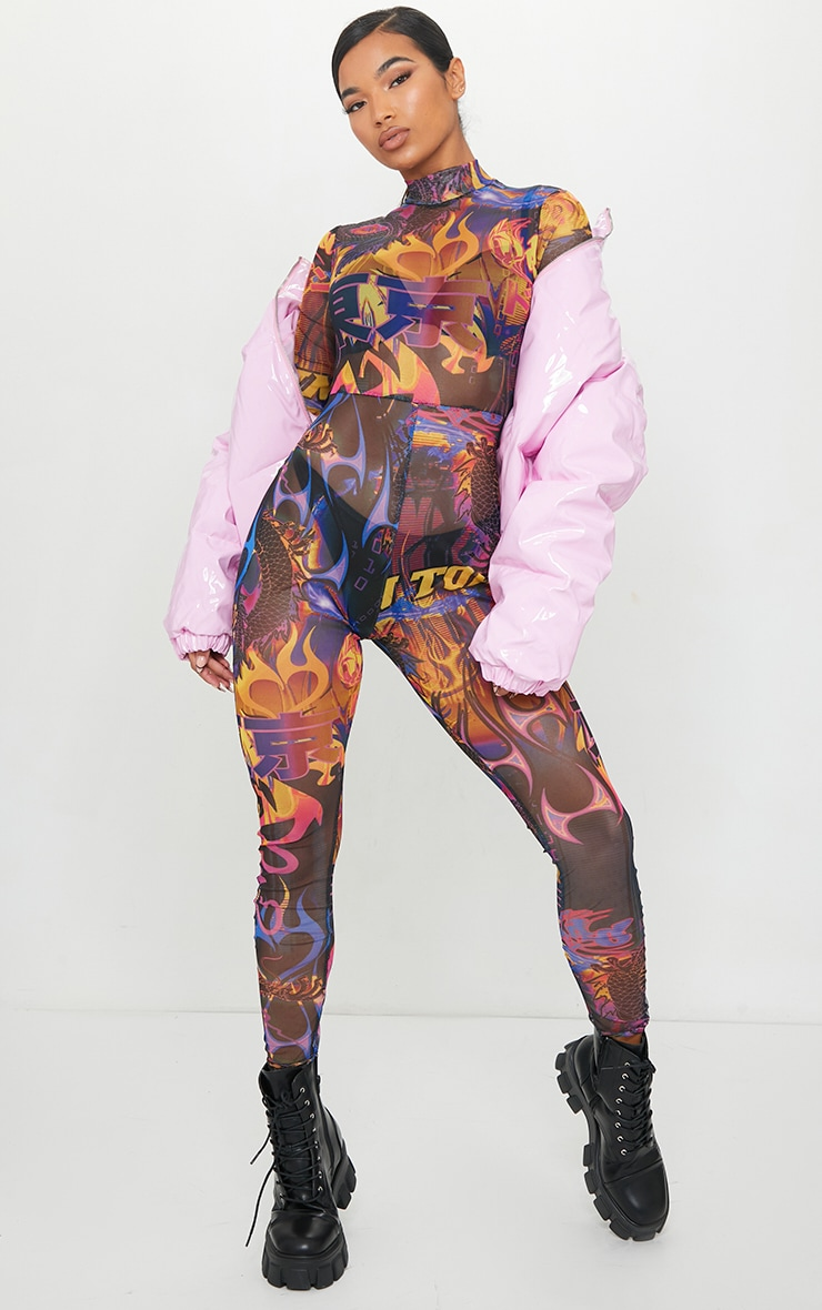 Multi Graffiti Print Jumpsuit