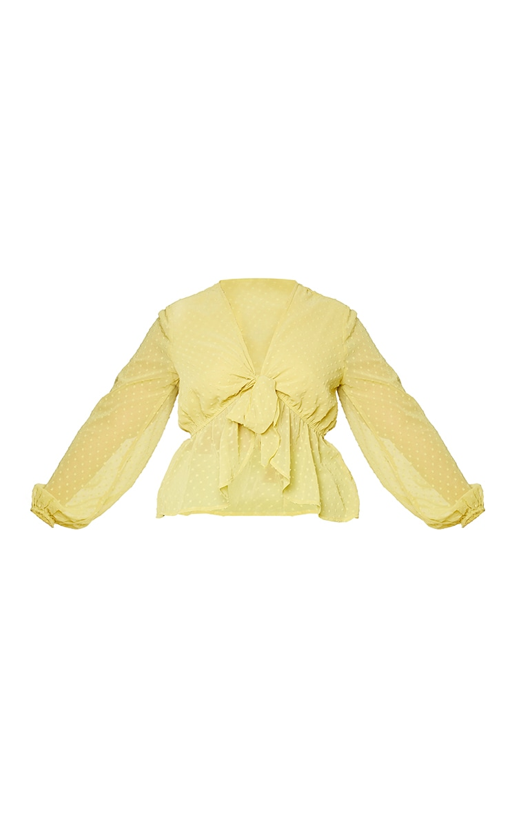 Plus Olive Dobby Mesh Tie Front Blouse 5