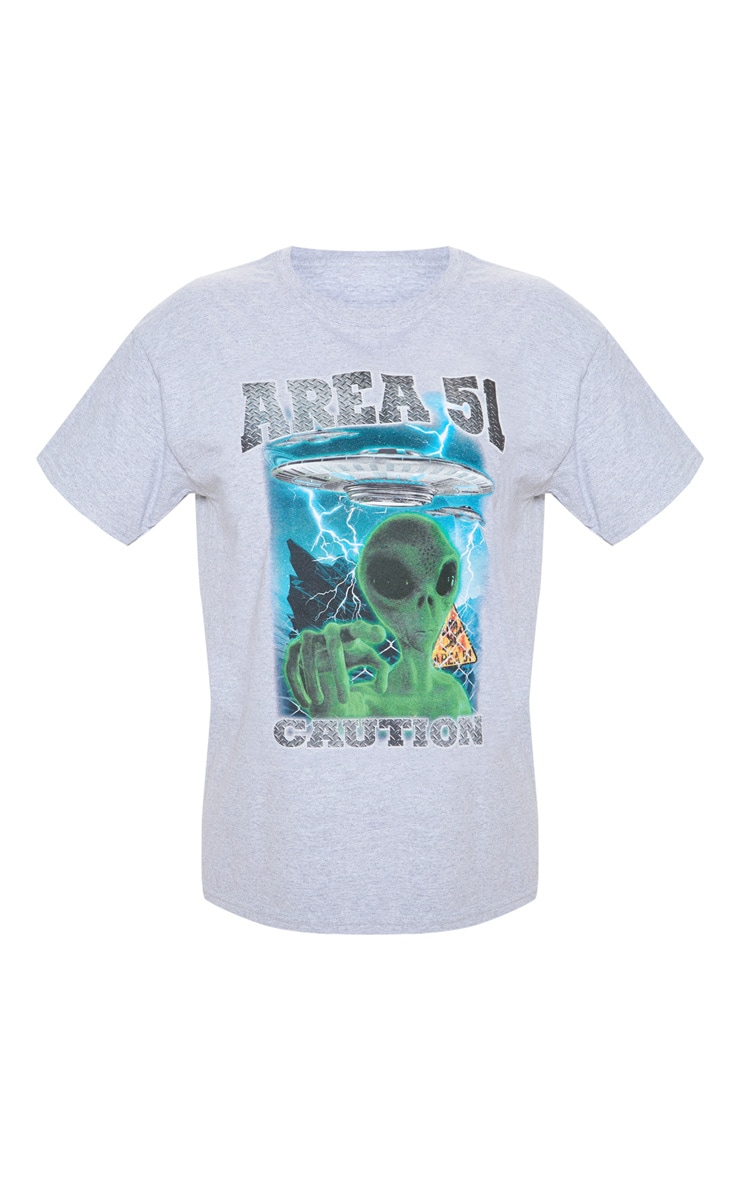 Grey AREA 51 Oversized T Shirt 3