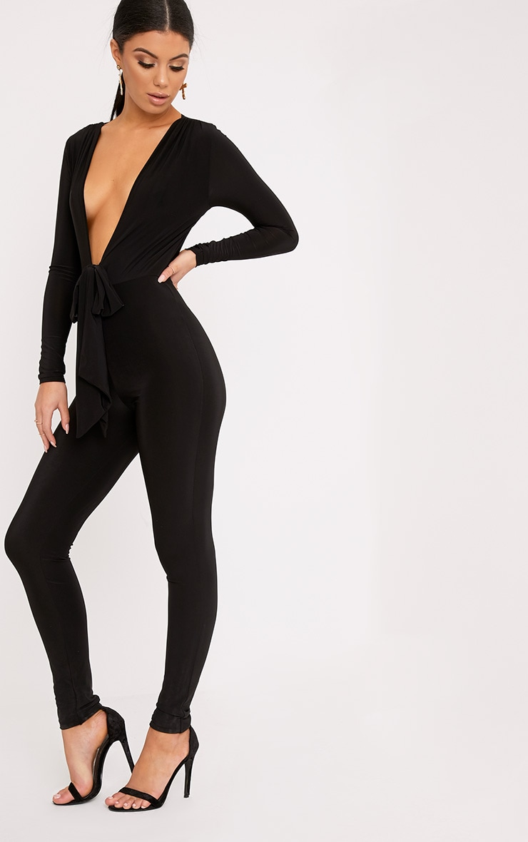 Alessia Black Slinky Knot Front Jumpsuit  4