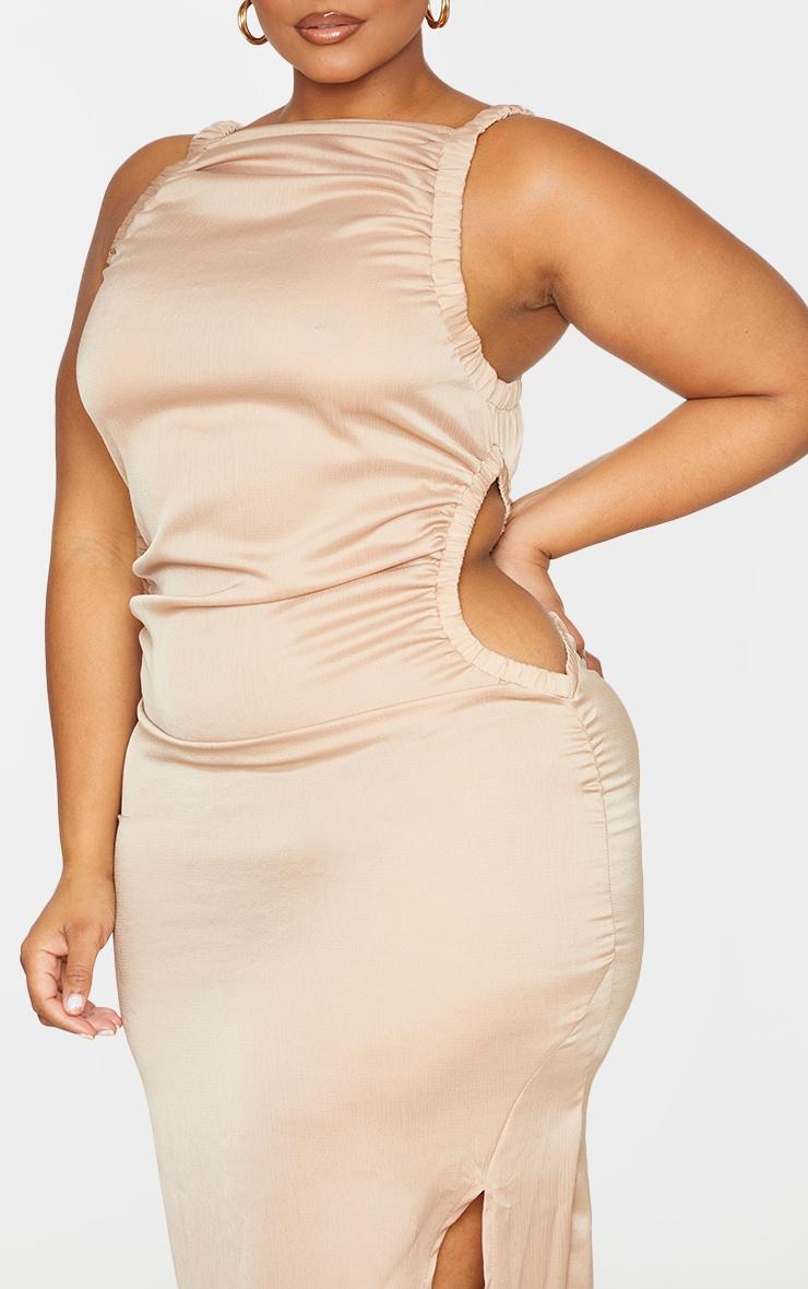 Plus Mocha High Neck Ruched Cut Out Midi Dress 4
