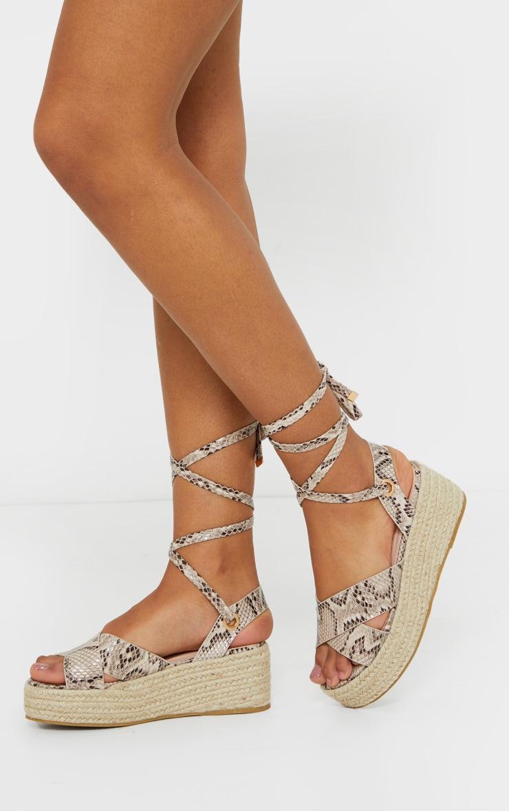 Snake Cross Strap Espadrille Flatform Ankle Tie Sandals 2