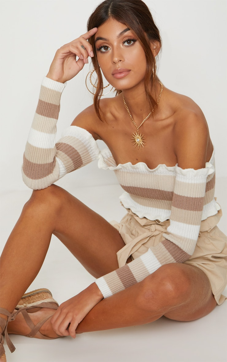 Cream Stripe Knitted Frill bardot top  1