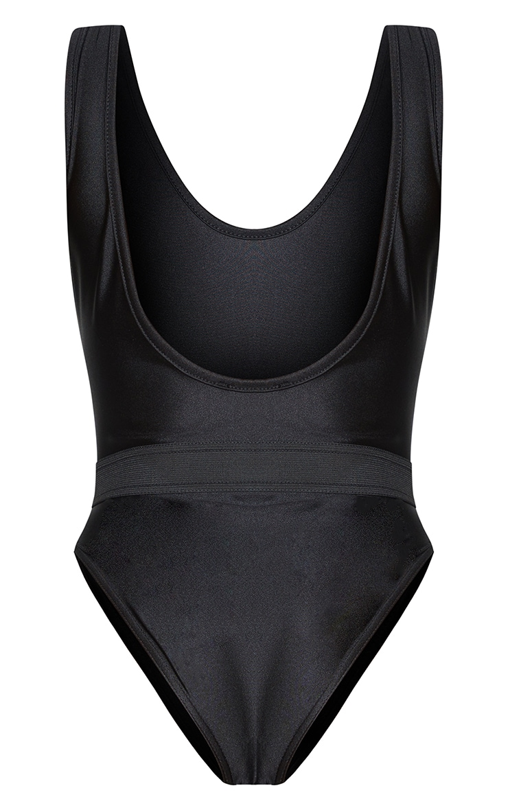 Black  Elastic Waist High Leg Swimsuit 6