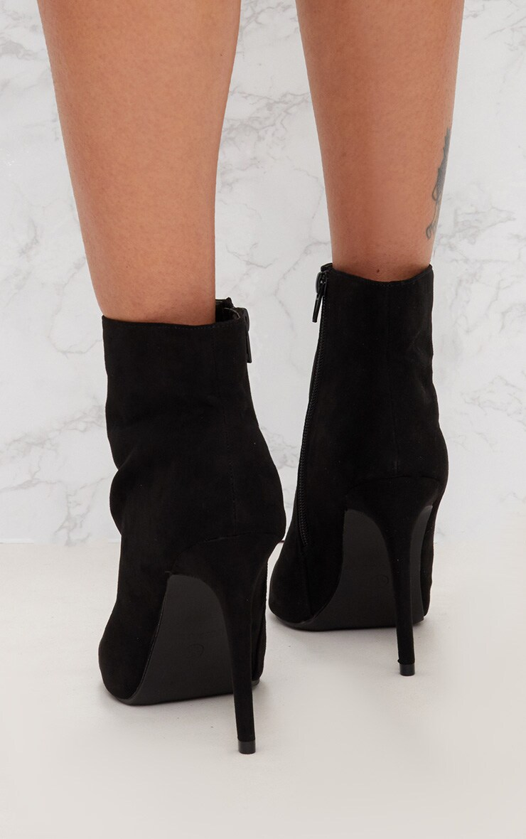 Faux Suede Heeled Black Ankle Boot 4