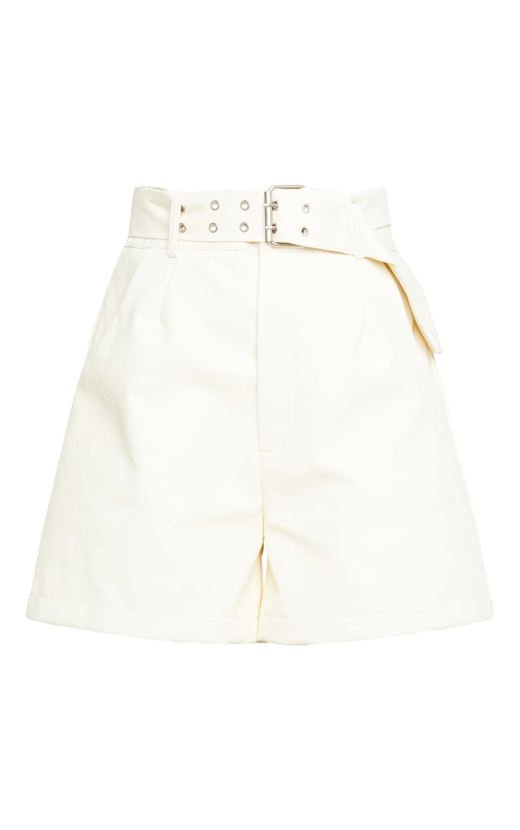Cream Oversized Belted Faux Leather Tailored Shorts 6