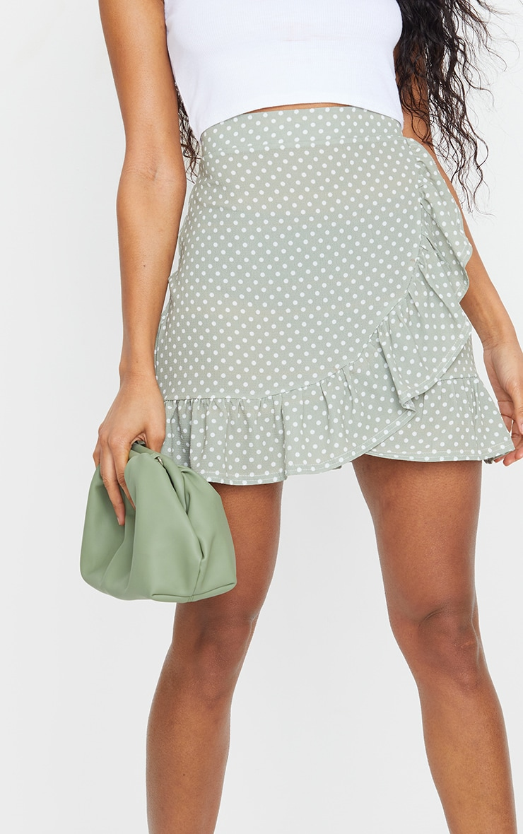 Sage Green Polka Dot Frill Hem Wrap Mini Skirt 5