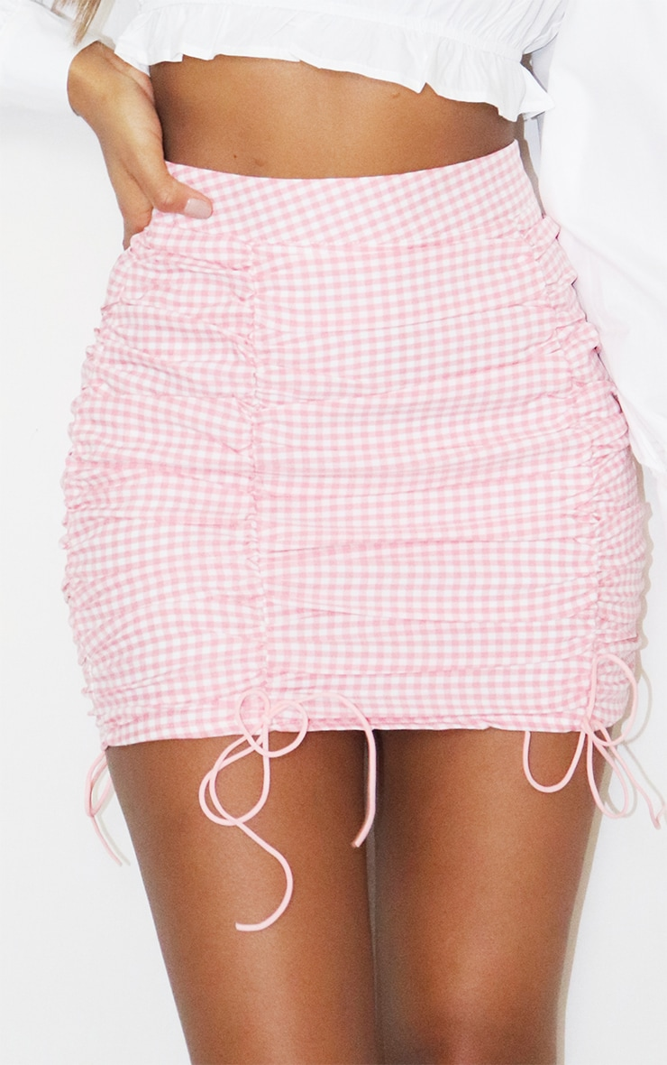 Pink Gingham Ruched Mini Skirt 5