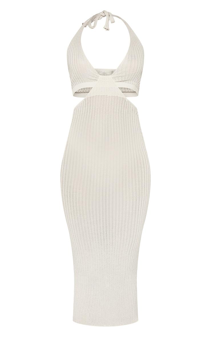 Stone Sheer Knit Cross Halter Neck Midi Dress 5