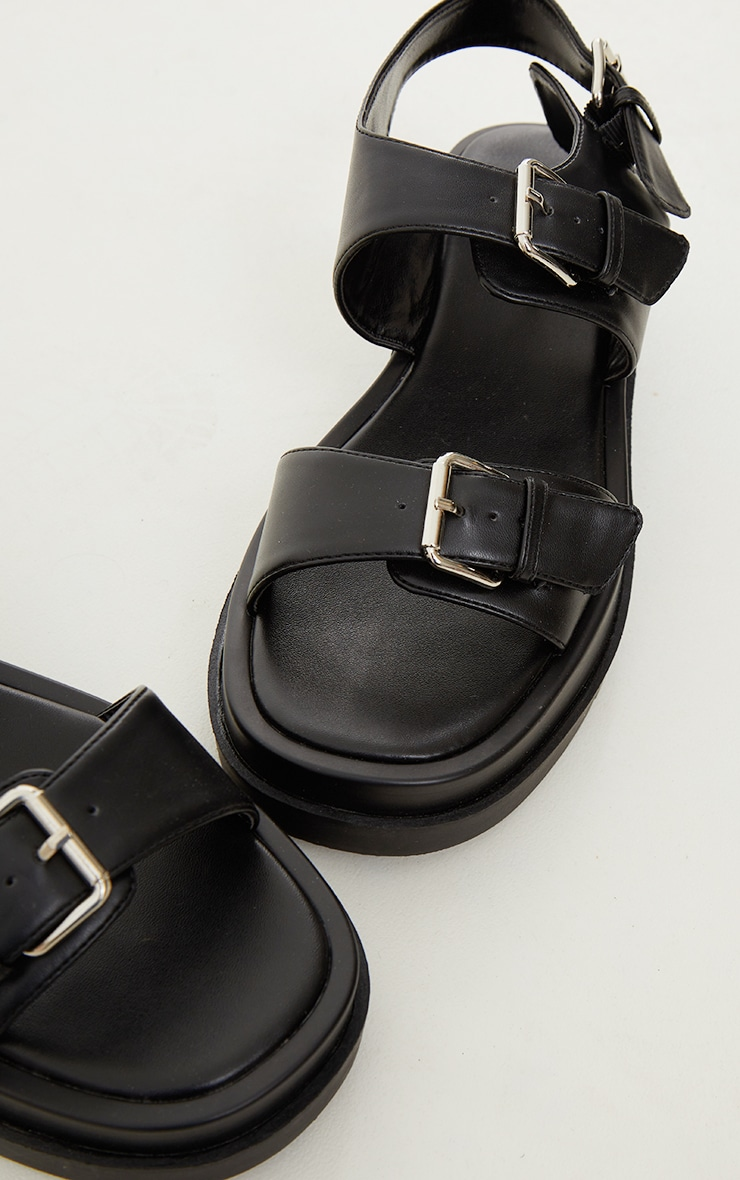 Black Double Sole Strappy PU Buckle Sandals 3
