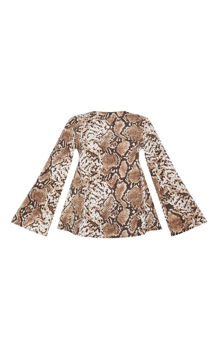 Stone Snake Print Backless Blouse 3