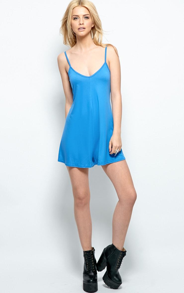 Isabel Denim Blue Strappy Swing Playsuit 4