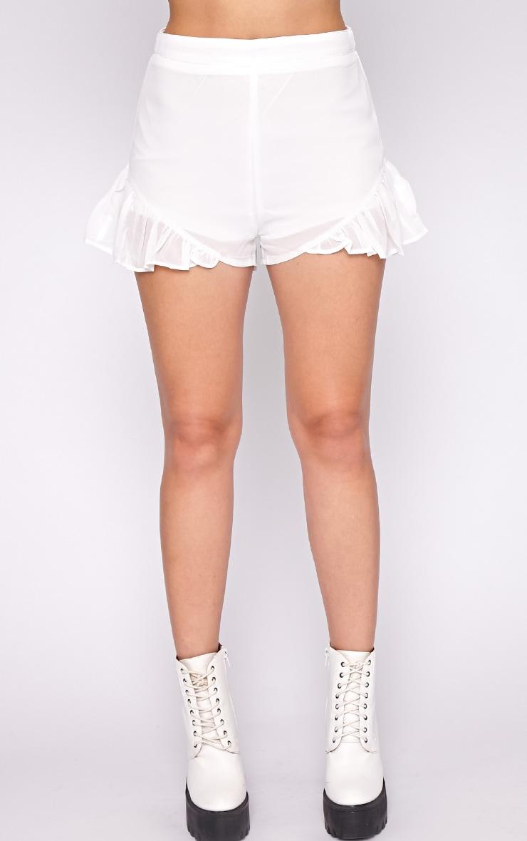 Milena White Frill Short 2