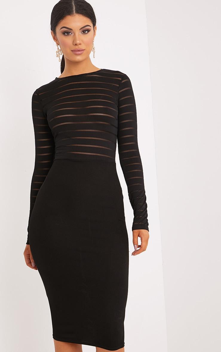 Haley Black Burn Out Mesh Midi Dress 3