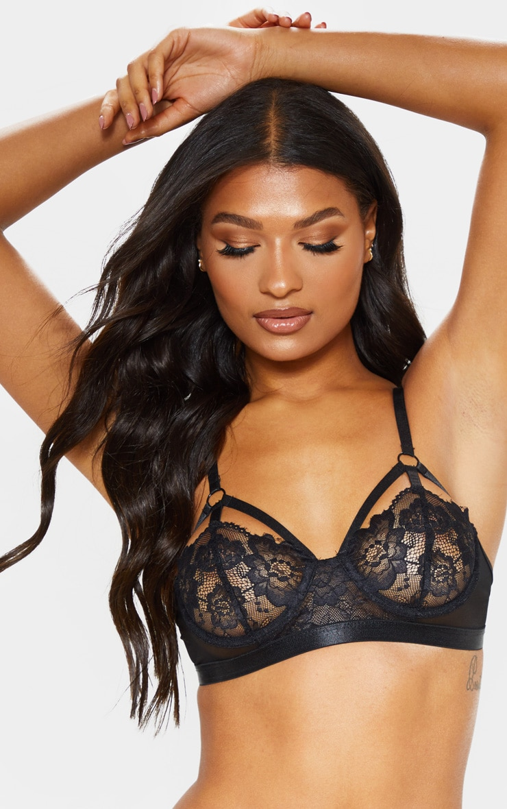 Black Strapping Detail Underwired Balcony Bra 6