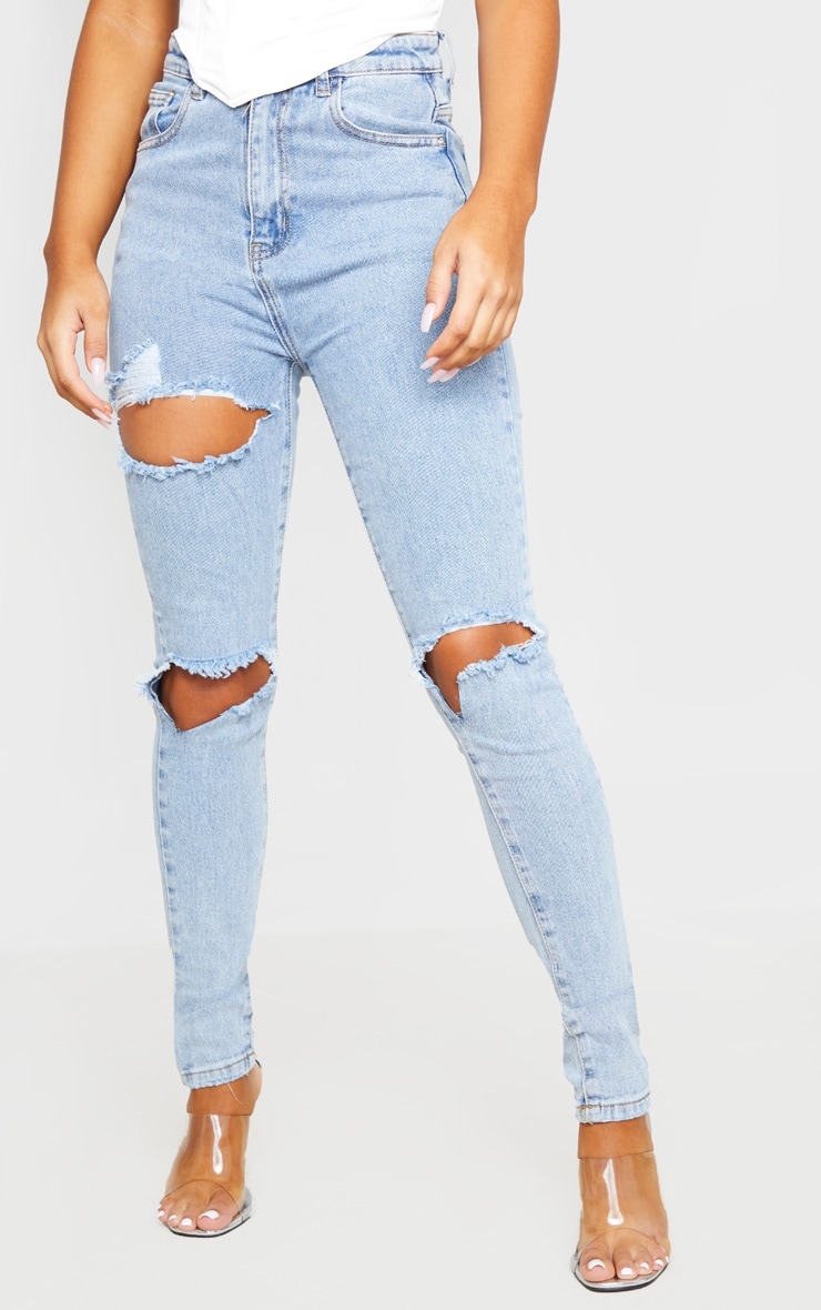 Blue Vintage Wash Distressed Skinny Jeans 3