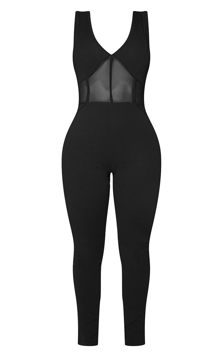 Shape Black Mesh Panel Jumpsuit 5