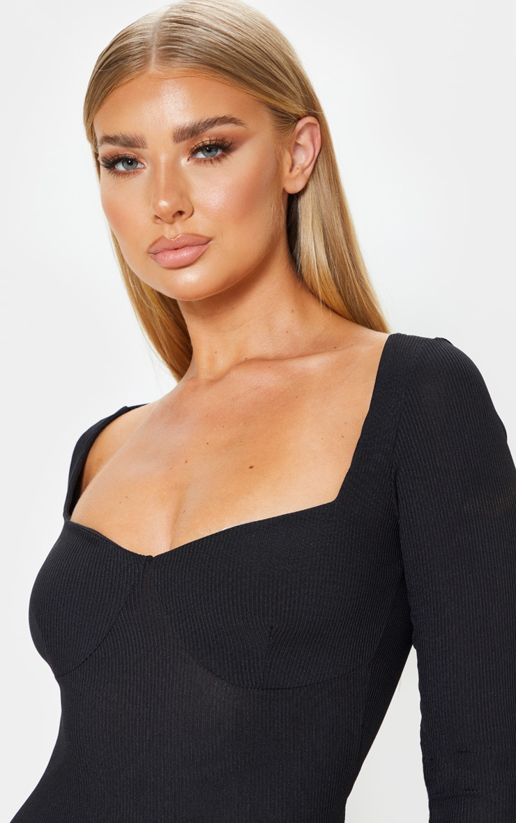 Black Ribbed Long Sleeve Cup Detail Midi Dress 5