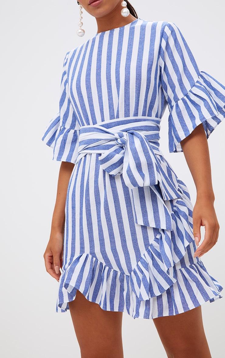 Blue Stripe Frill Detail Mini Dress 5