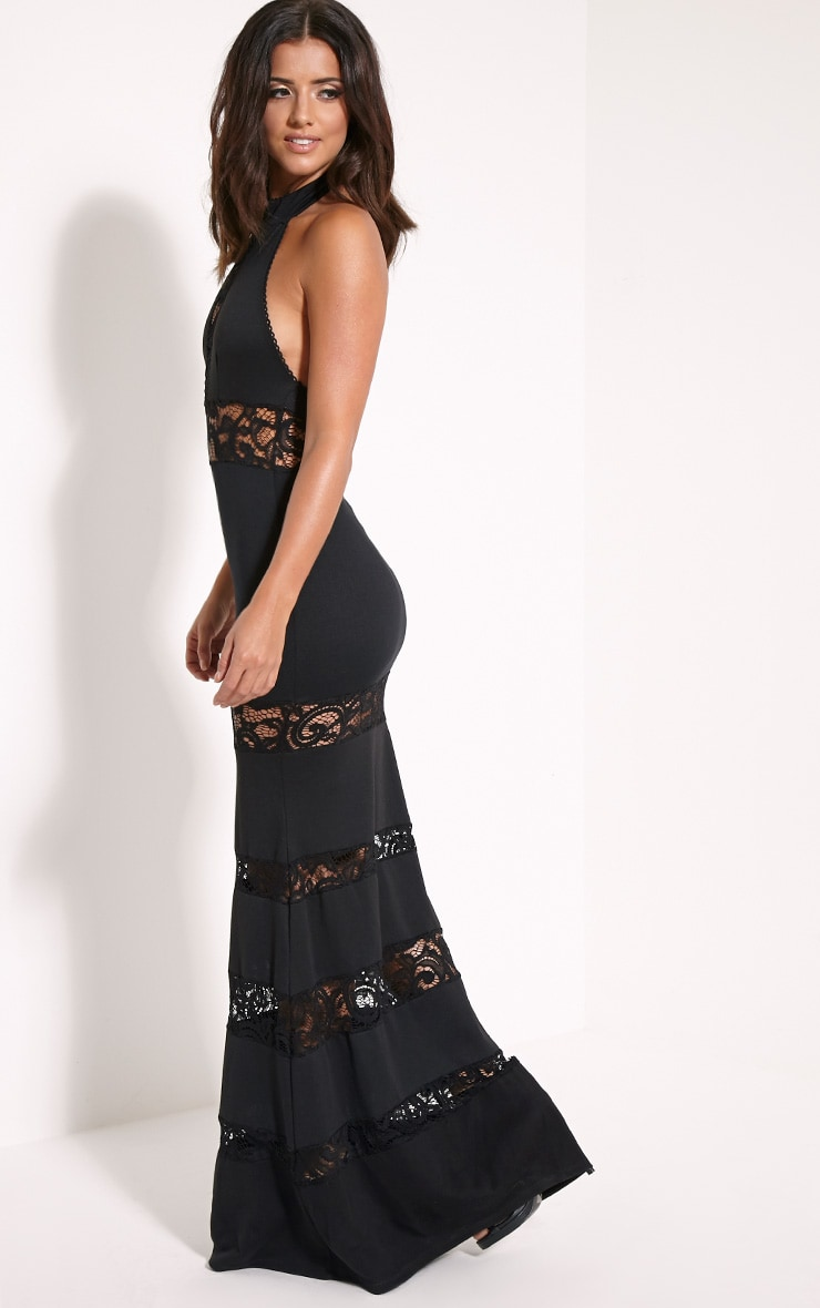 Loucie Black Halterneck Lace Insert Maxi Dress 3