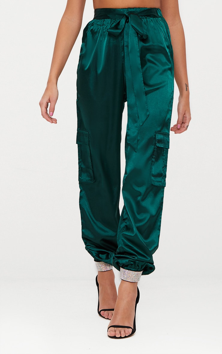 Emerald Green Satin Cargo Trousers 2