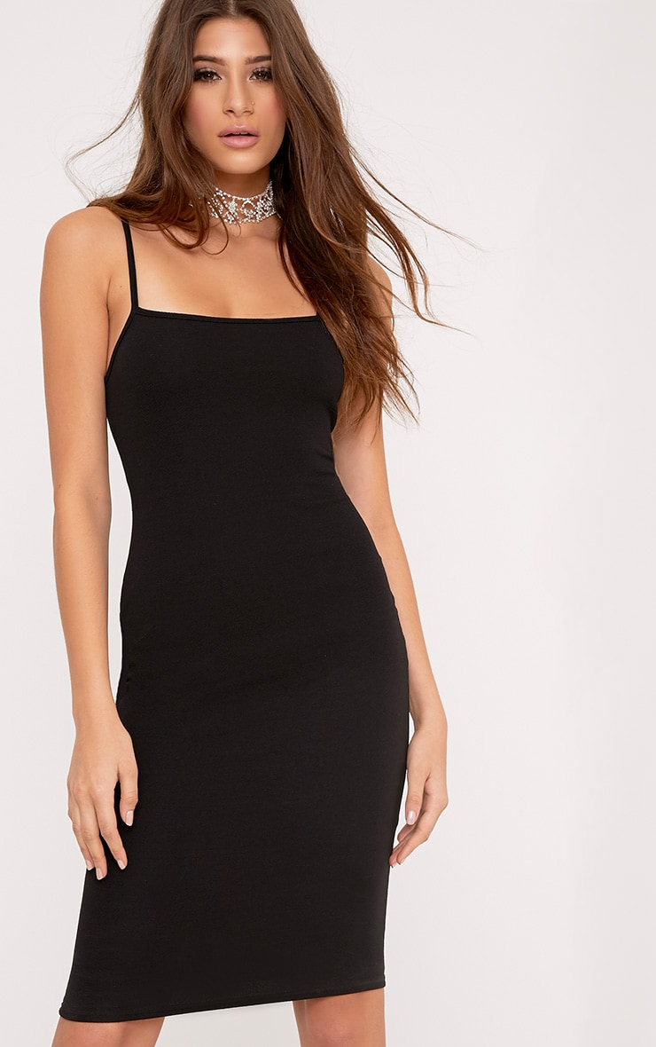 Lorah Black Square Neck Midi Dress 1