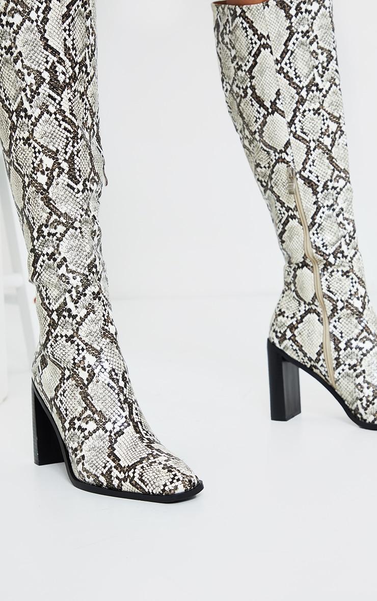 Brown Pu Snake High Flat Block Heel Knee Boots 2