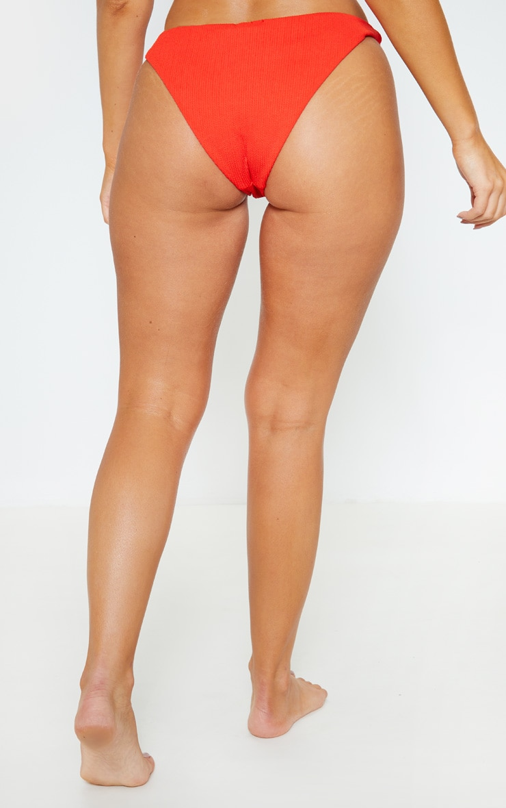Red Mini Crinkle Bikini Bottom 4